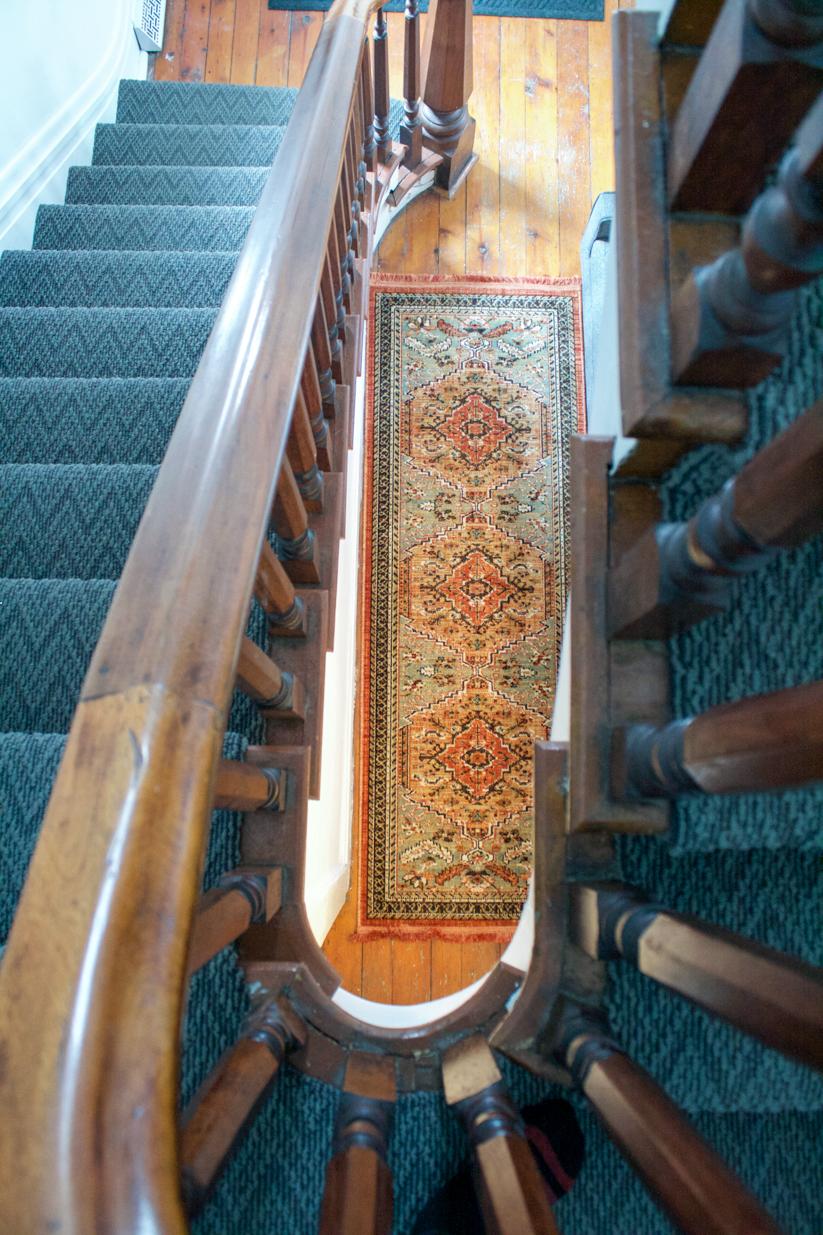 original walnut staircase railing