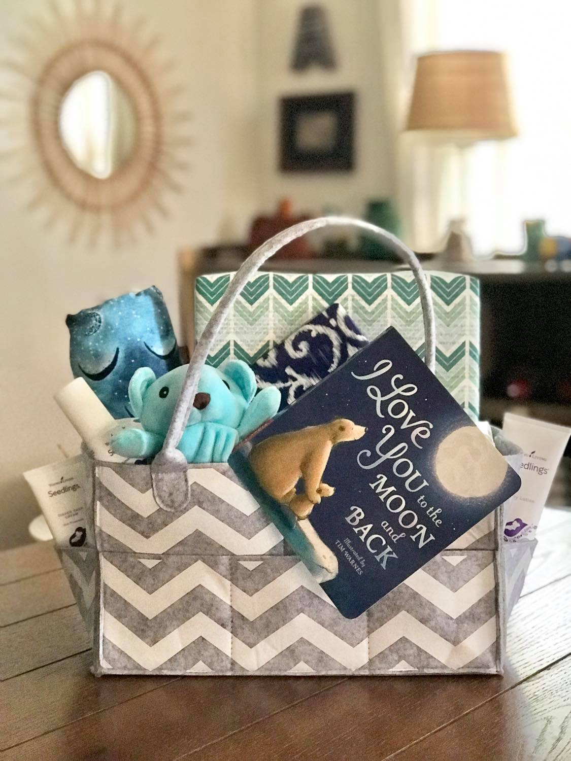 baby boy young living seedlings blue bear gift basket