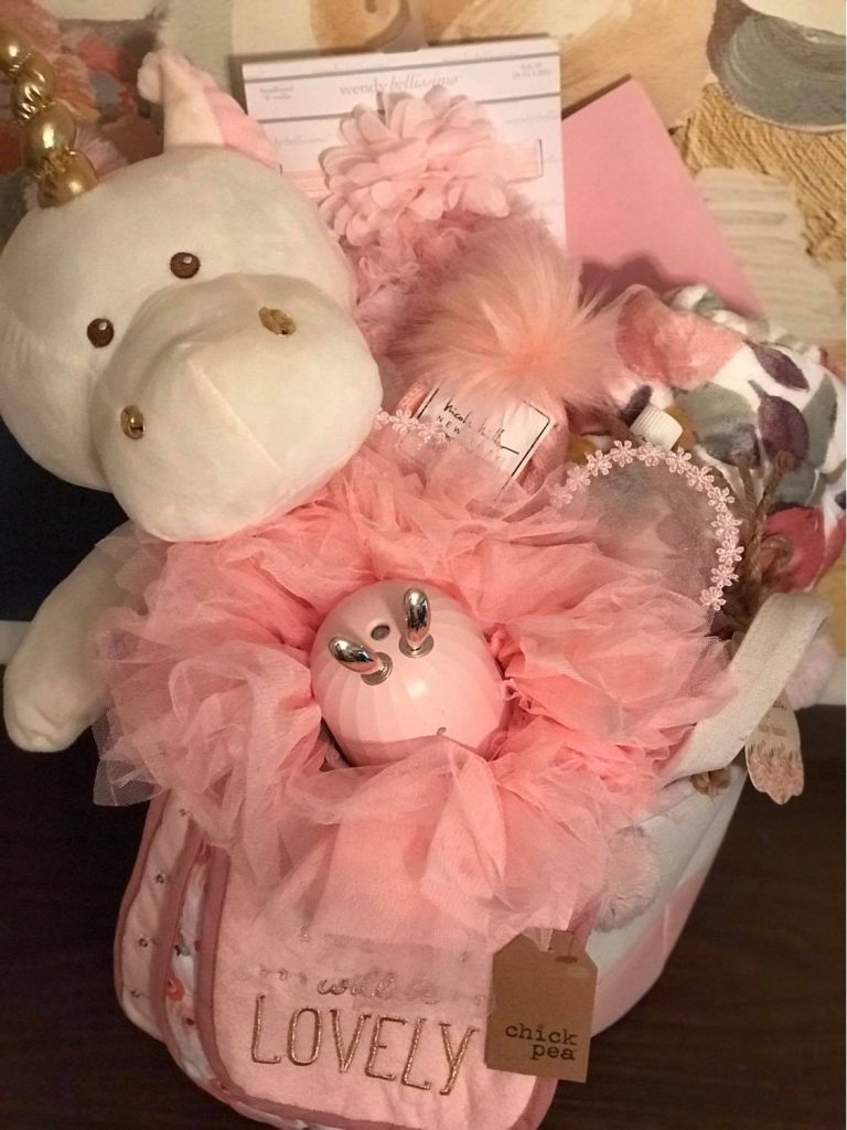 pink princess baby girl gift basket