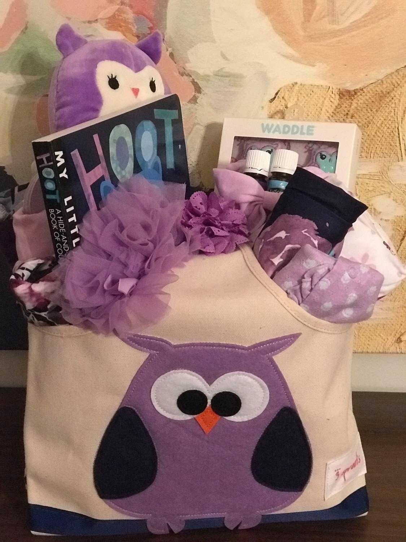 purple owl baby girl gift basket