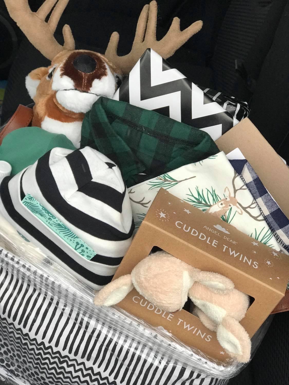 woodland theme baby shower gift basket