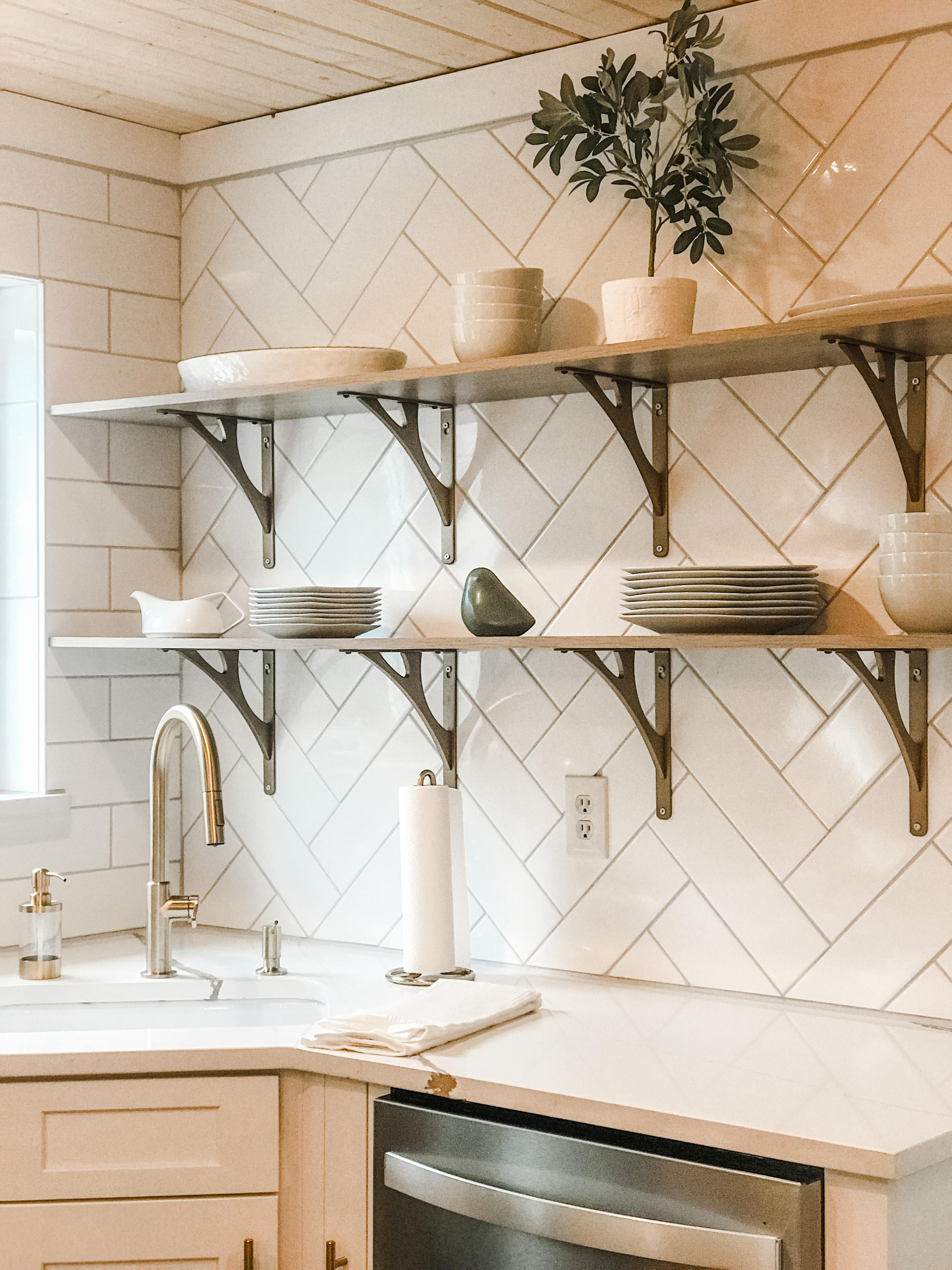 modern kitchen open shelving